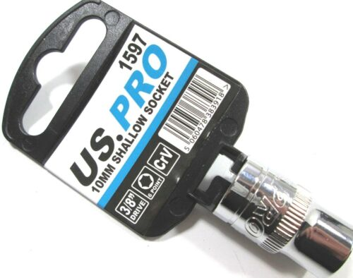 "US PRO 3//8/"" Drive 10mm 6 punto único hexagonal poco profundo Socket 1597 individuales"