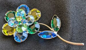 Blue Green Colett Open Back Setting Floral Pin Brooch Faceted Rhinestone 2-1/2""