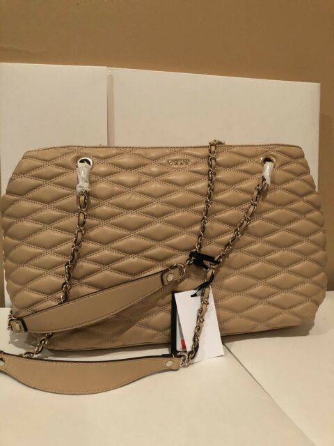 Nwt Dkny Lara Large Per Bag Quilted Leather Handbag Satchel Chain New