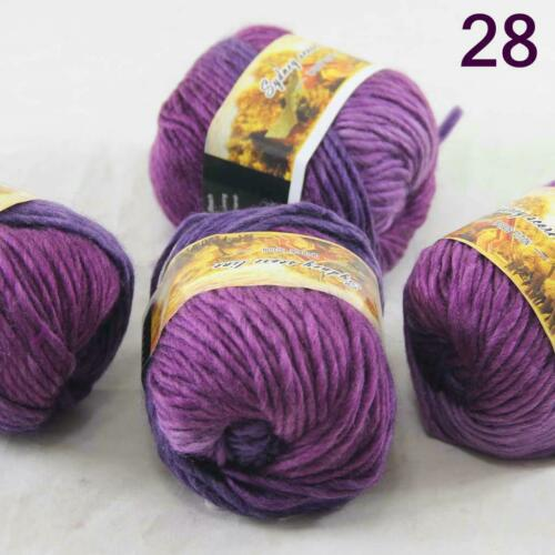 Sale Lot of 4 Balls NEW Knitting Yarn Chunky Hand-woven Colorful Wool scarves 28