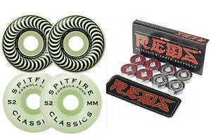 Spitfire-Wheels-Formula-Four-Stay-Lit-52mm-Glow-Bones-Reds-Skateboard-Bearings