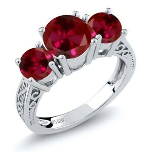 2-75-Ct-Round-Red-VS-Created-Ruby-925-Sterling-Silver-3-Stone-Ring
