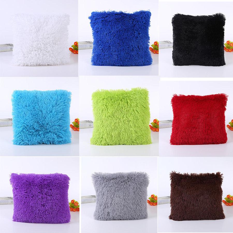 fluffy plush square pillow case sofa waist throw cushion cover home decor ebay. Black Bedroom Furniture Sets. Home Design Ideas