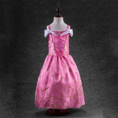 Disney Princess Belle Cinderella Dress Up Kid Girls Fancy Party Costumes Cosplay