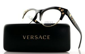 bf6430c42779 Image is loading New-Authentic-VERSACE-Shiny-Black-Gold-Medusa-EyeGlasses-