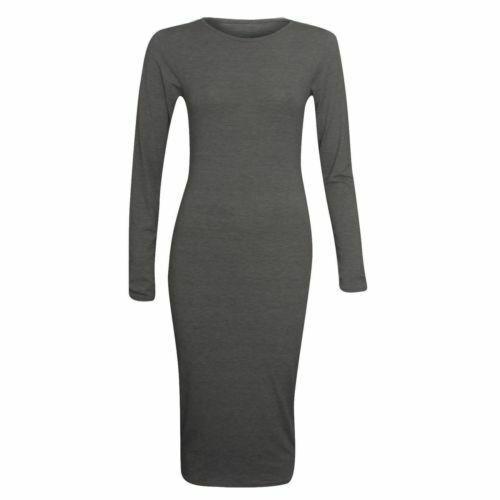 Femme Manches Longues Extensible Corps-détenu Maternité Jersey Uni Midi Robe 8-26