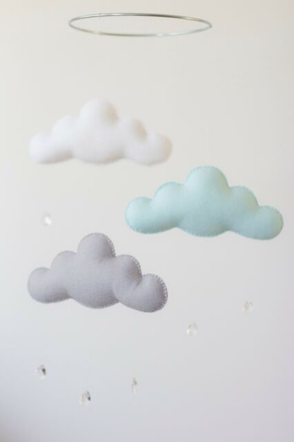 Arctic Mint, Light Grey, White Merino Wool Felt Cloud Mobile Baby Nursery Decor