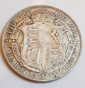 1913-Half Crown- King George V. Low Mintage Coin
