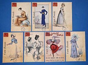 Set-of-7-NEW-Vintage-Style-Postcards-French-Paris-Fashion-Dress-Shabby-Chic-76K