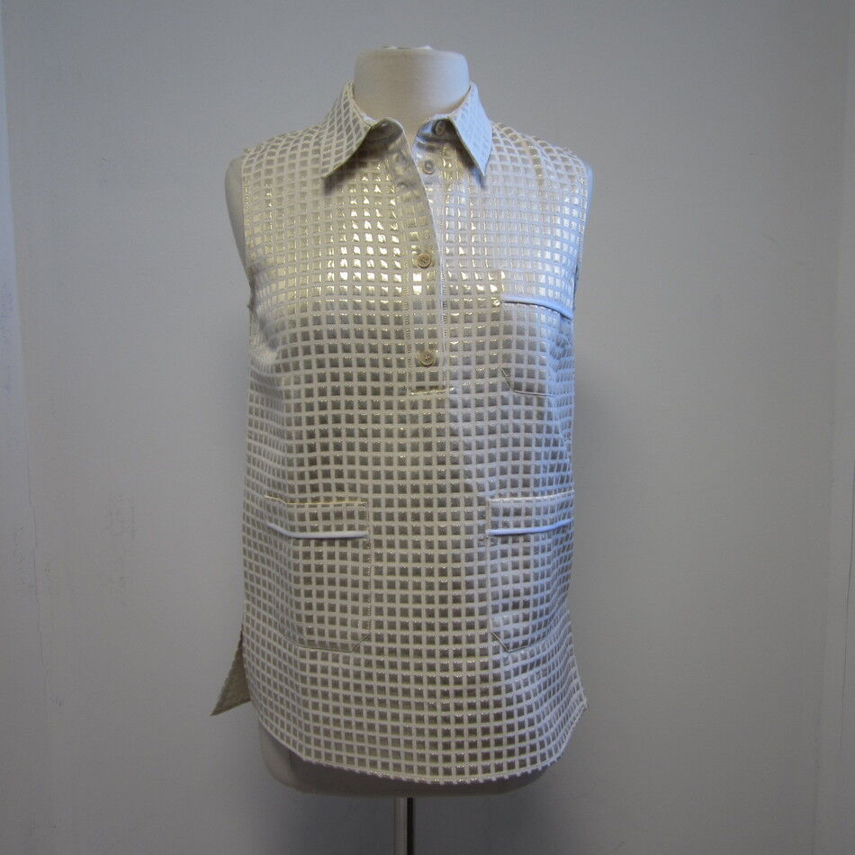MARNI Gold Weiß Squares Sleeveless Button Down Top Sz 42 8 SUMMER 2014