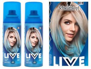 2x Schwarzkopf LIVE Hair Colour Spray BLUE TWIST 120ml One Wash ...