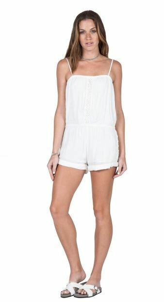 2016 NWT WOMENS VOLCOM CACTUS FLOWER ROMPER  55 S white removable straps
