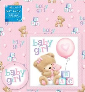 2 Sheets Baby Girl Gift Wrap Wrapping Paper Card 2 Gift Tags Pink