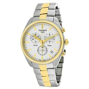 Tissot-Swiss-Made-T-Classic-PR100-Chronograph-2-Tone-Gold-Plated-Men-039-s-Watch