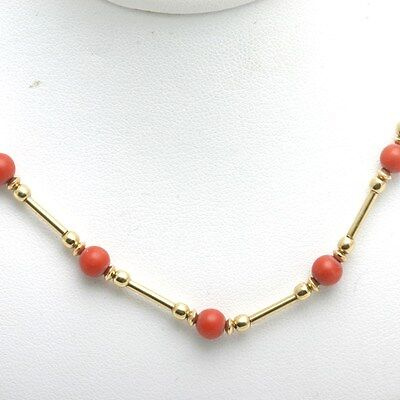 Vintage 14k red Coral Necklace Chain beads yellow gold Made in Israel Estate