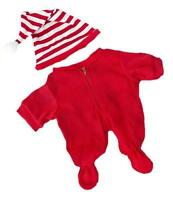 Red Onesie Drop Seat Pjs Pyjamas With Cap Fits 14-16 (40cm) Build A Bear