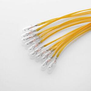 10 x 14V 80mA / Birne Lampe / Miniature Lamp Bulb / T1 ¼ 1/4 T1.25 / 4mm / Kabel