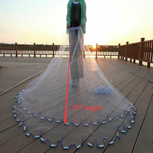 Hand Cast Fishing Landing Net Spin Network Easy Throw Bait Mesh Dia 8//10//12//14ft
