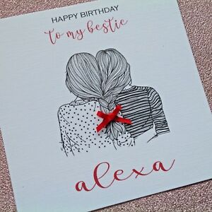 Image Is Loading PERSONALISED Handmade Birthday Card BESTIE BEST FRIEND Girl