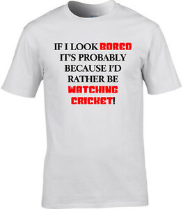 52c3f69f0 Cricket Mens T-Shirt I'd Rather Be Watching Sport Funny Player ...