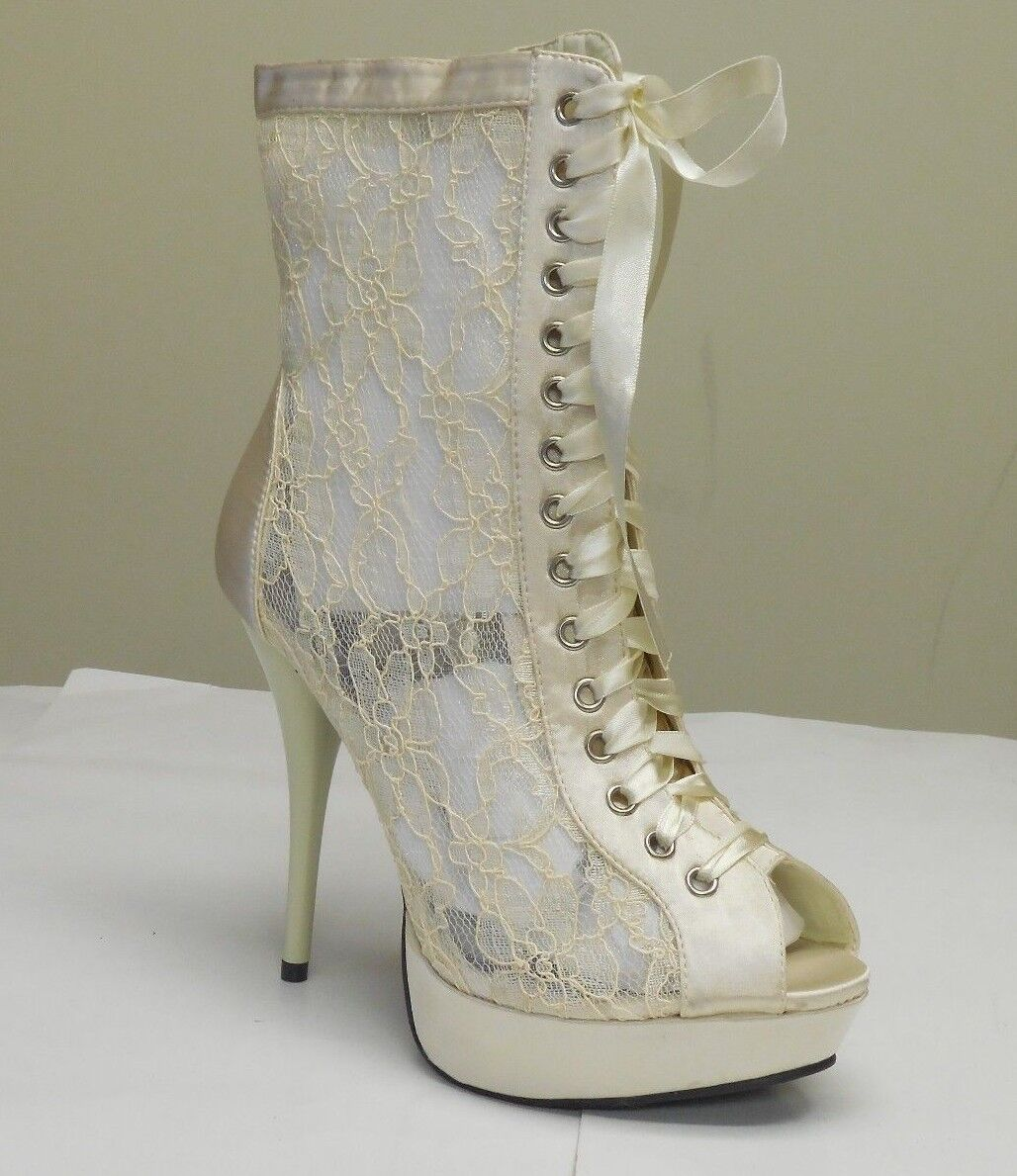 De Blossom Women's Mandy-35 Ivory Lace Net See Through Peep Toe Heels