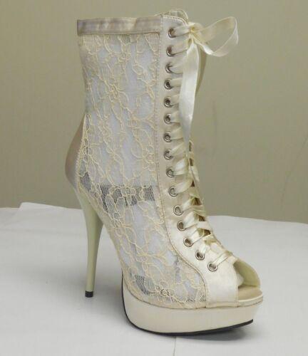 De Blossom Women/'s Mandy-35 Ivory Lace Net See Through Peep Toe Heels