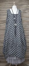 LAGENLOOK LINEN OVERSIZED DOTS PRINT 2 POCKETS DRESS**CHARCOAL/GREY**SIZE XL-XXL