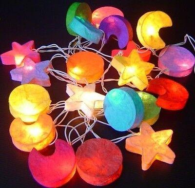 Star Moon Sun Paper Mache 3D Mix Colour Fairy Lights