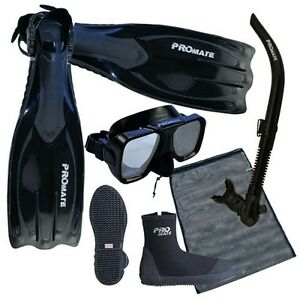 NEW-Scuba-Dive-Mask-Snorkel-Boots-Fins-Package-Gear-Set