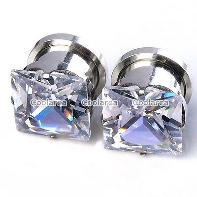 Pair Large Square CZ GEM Stainless Steel Screw Ear Plugs Hollow Tunnels Gauges