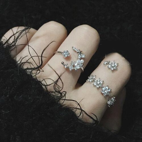 5Pcs//Set Fashion Boho Cristal Silver Star Fleur Empilable brillant anneaux bijoux