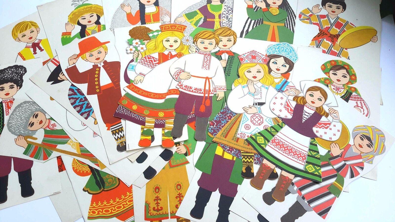 tiempo libre 1970s 1970s 1970s URSS Rusia Soviética muñecos de papel en trajes nacionales juego de 30  hermoso
