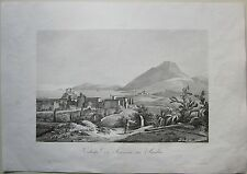 1845 VEDUTA DI MESSINA IN SICILIA Zuccagni Orlandini acquaforte originale