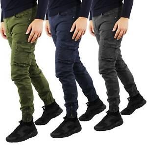 Pantaloni-Cargo-Uomo-Invernale-Tasche-Laterali-Cotone-Slim-Fit-Tasconi-Casual