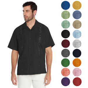 Men-039-s-Cuban-Beach-Wedding-Casual-Short-Sleeve-Guayabera-Dress-Shirt