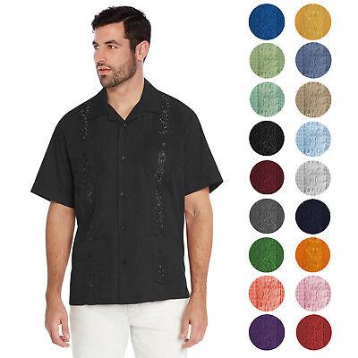 vkwear Men/'s Guayabera Cuban Beach Wedding Casual Short Sleeve Dress Shirt