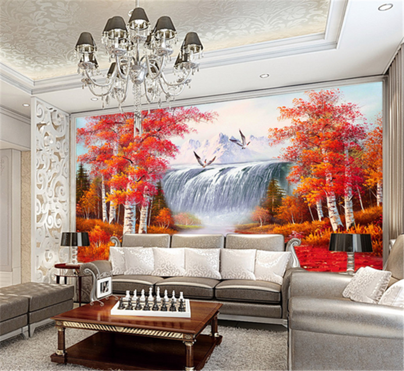 3D Autumn Tree Waterfall 88 Wallpaper Mural Paper Wall Print Wallpaper Murals UK