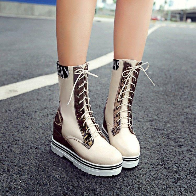 Women Mid-Calf Boots Warm Wedge Heels Platform Round Toe Lace Up Casual shoes