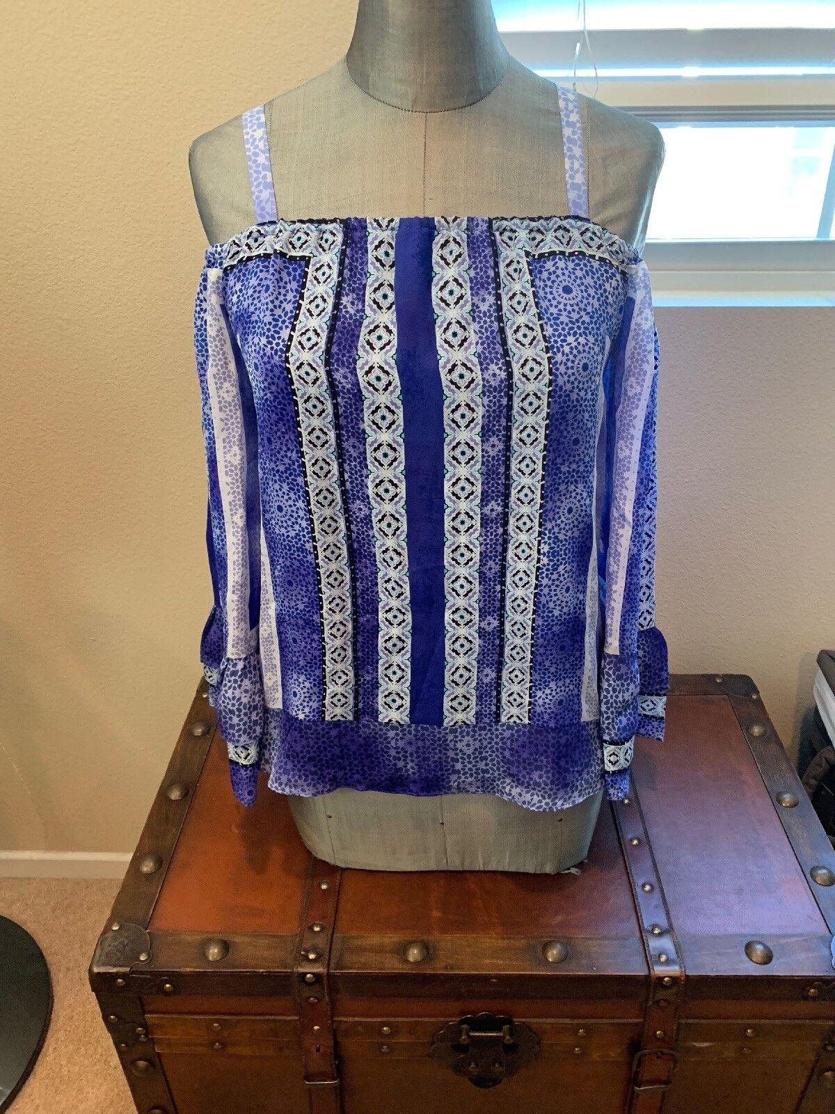 Magnifique Parker Off épaule motif Blau chemisier Neuf Avec Étiquettes SZ SM 220