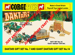 Corgi-Toys-Daktari-Conjunto-de-Regalo-GS-7-GS-14-Vintage-1968-A4-Tamano-Poster-Cartel-Folleto