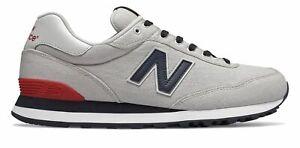New-Balance-Homme-515-Chaussures-Gris-Avec-Bleu-amp-Rouge