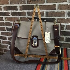 RARE-VINTAGE-1980s-BATTENKILL-CANVAS-SADDLE-LEATHER-MACBOOK-BRIEFCASE-BAG-R-898