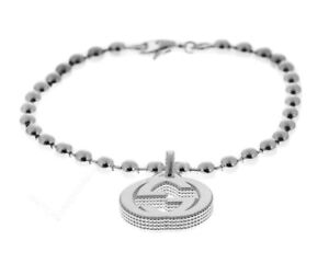3bd2bc6dc Image is loading Gucci-GG-Beaded-Chain-Interlocking-G-Charms-Silver-