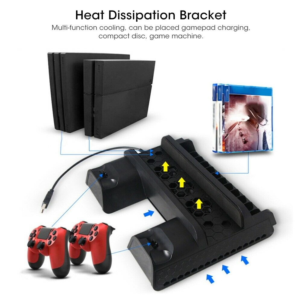 3 Fan Cooling Cooler Vertical Stand Charger for Sony Playstation 4 PS4 Pro Slim