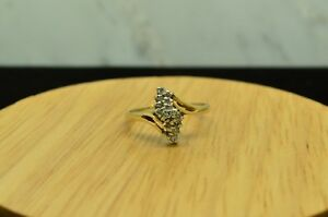 14K-YELLOW-GOLD-DIAMOND-CLUSTER-RING-BAND-0-25-TCW-SIZE-7-25