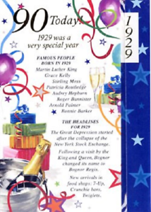 Age 90 Born In 1929 Special Years Happy Birthday Card Male
