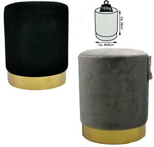Samt-hocker-Sitzhocker-pouf-Barock-DESIGN-Beistelltisch-28-x-36-cm-Fuess-Gold