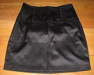Forever-21-Junior-039-s-Skirt-Straight-Pencil-Mini-Satin-Bodycon-Black-size-Small