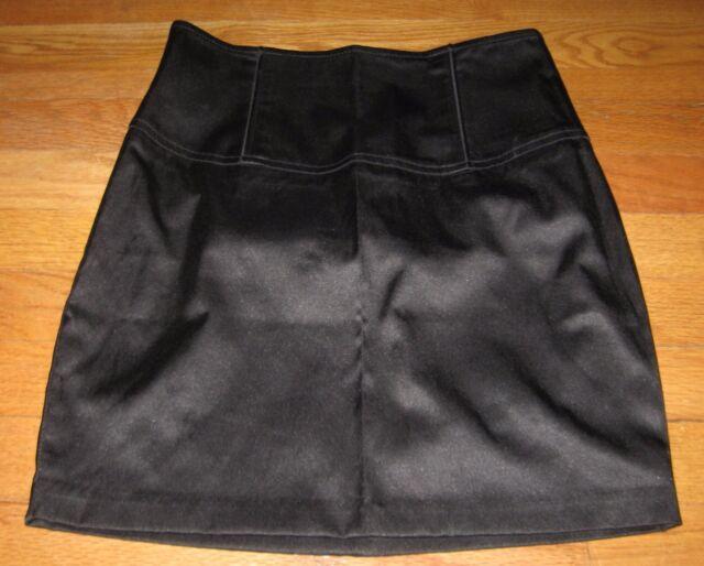 Forever 21 Junior's Skirt Straight Pencil Mini Satin Bodycon Black size Small