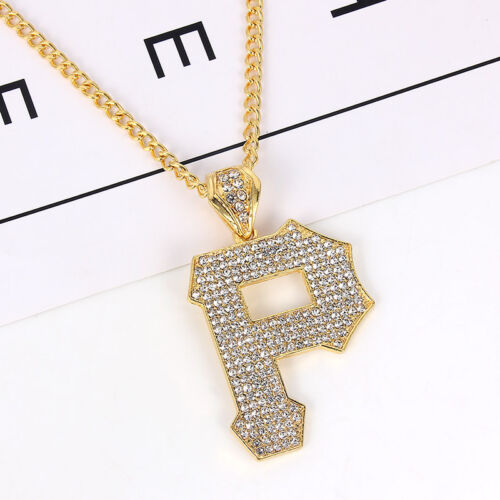 1Pcs Gold Plated Hip-Hop Letter P Crystal Pendant Necklace Jewelry Ornament Gift